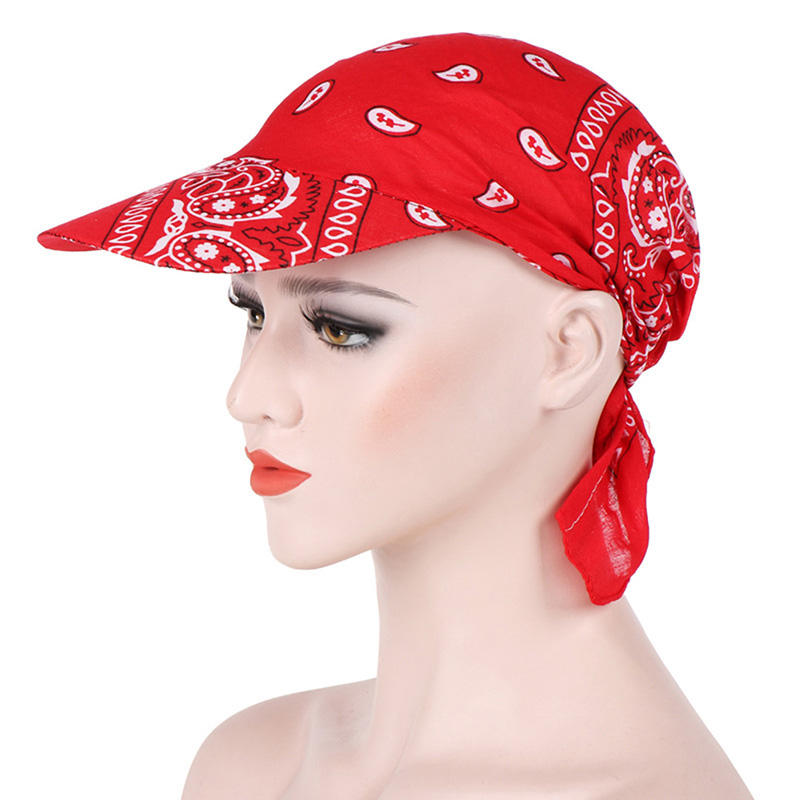 HTB1KRDmbB1D3KVjSZFyq6zuFpXar - Packable Head Scarf Visor Hat With Wide Brim Sunhat Women Summer Beach Sun Hats UV Protection Female Printed Cap