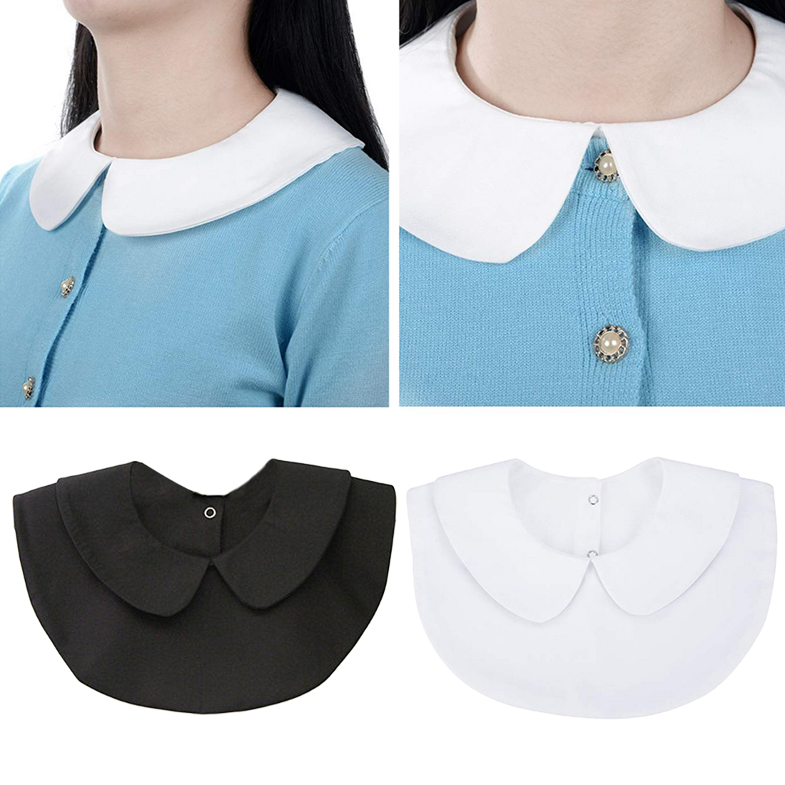 Women Clothes Accessories Shirt Fake Collar Detachable Collar Lapel False Collar Removable Vintage Solid White Black Tie