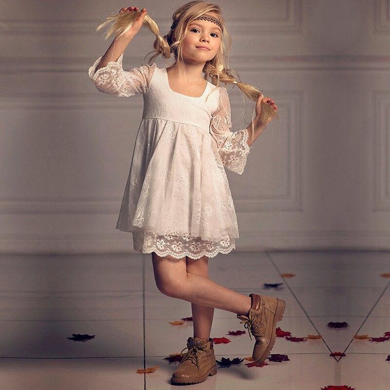 New Girls Dress Lace Dress Show Birthday Flower Girl White Princess Dress