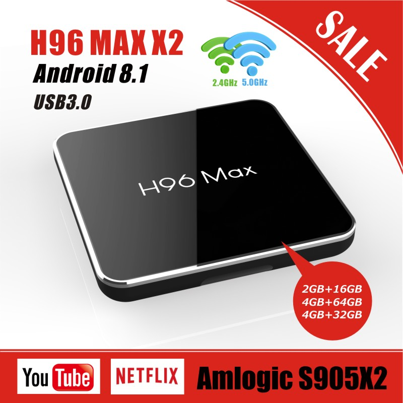 H96 MAX X2 Android 8.1 Internet TV BOX Amlogic S905X2 2g/4g RAM 16g/32g/64g Quad core 2.4G & 5G Wifi 4K HD lecteur multimédia Youtube-in Décodeurs TV from Electronique    1