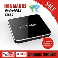 H96 MAX X2 Android 8,1 Интернет ТВ приставка Smart S905X2 2g/4g Оперативная память 16g/32g/64g Quad core 2,4G и 5G Wi-Fi 4 K HD Youtube Media Player