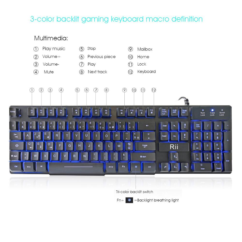 Rii RK100 3-Color LED USB Wired French(Azerty) Gaming Keyboard Mechanical-feeling (RED,Blue ,Purple)