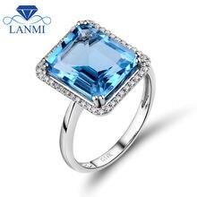 Натуральный изумрудная огранка, 10x12 мм топаз кольцо с диаметром в 14Kt белого золота и серебра кольцо для вечерние Обручение Юбилей ювелирные изделия WU216B