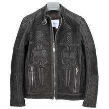 2018 Men Vintage Black Skull Leather Motorcycle Jacket Plus Size XXXXL Slim Fit Short NUBUCK Leather Biker Coat FREE SHIPPING