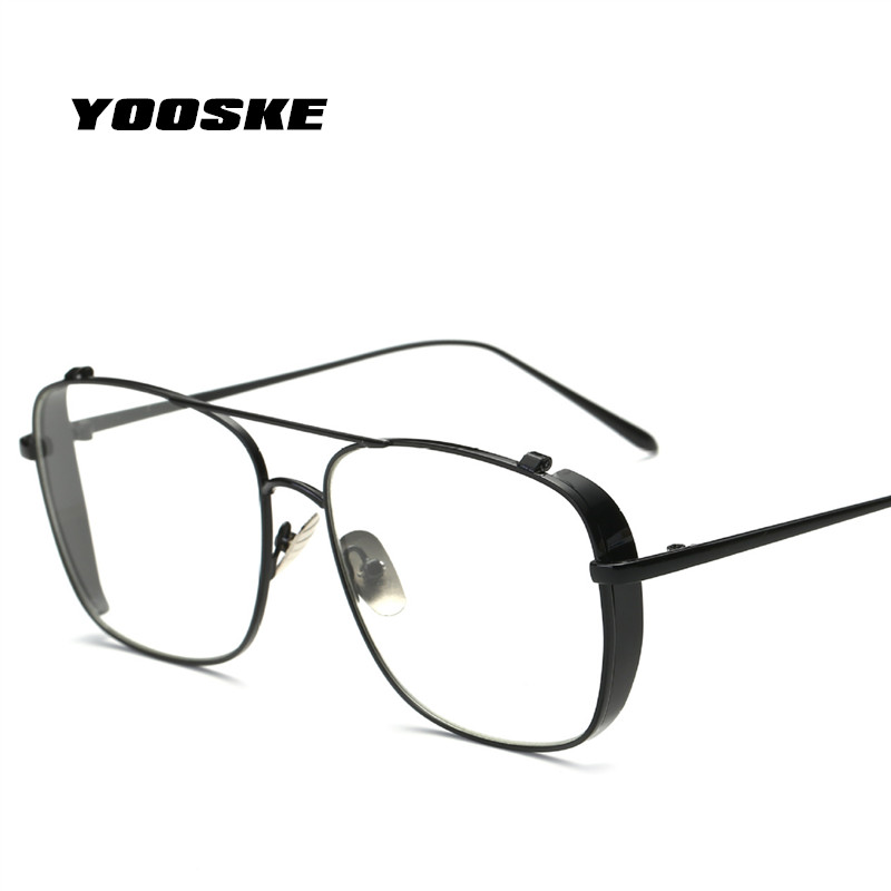 YOOSKE Oversized Alloy Eyeglasses Frames Transparent Sunglasses Women Optical Glasses Frames For Men Vintage Square Eyewear