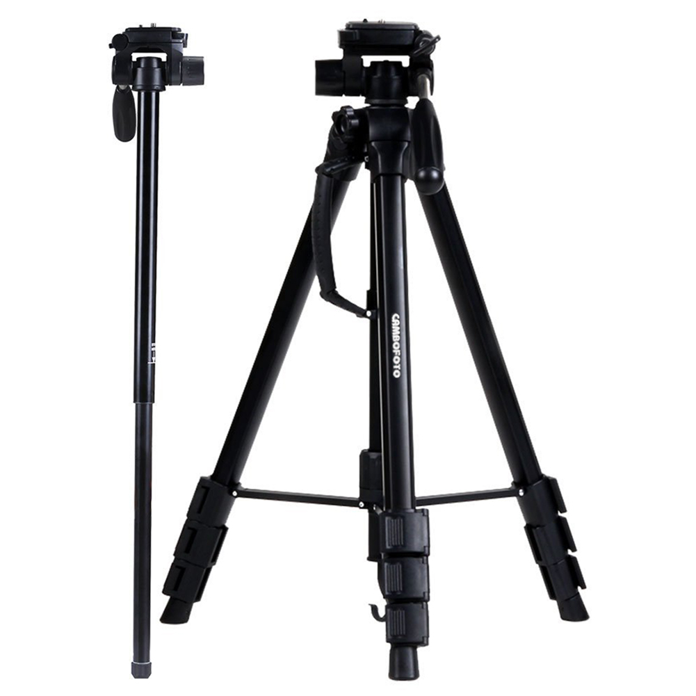 CAMBOFOTO 70-Inch Professional SLR Camera Aluminum Travel Tripod Portable Monopod & Tripod with Carry Bag bt 158 aluminium alloy 1460mm camera video monopod professional extendable tripod slr dslr holder stand with carry bag