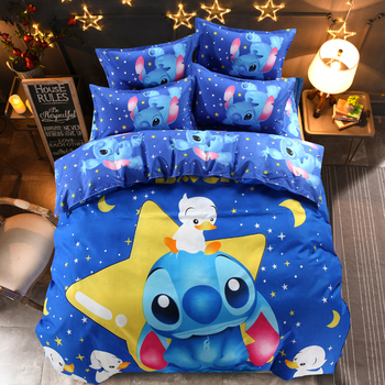 Disney Lilo and Stitch Bedding Set 3 / 4 Pieces Blue Comforter Cover 3D  Children Bedroom Decor for 1.5m Bed