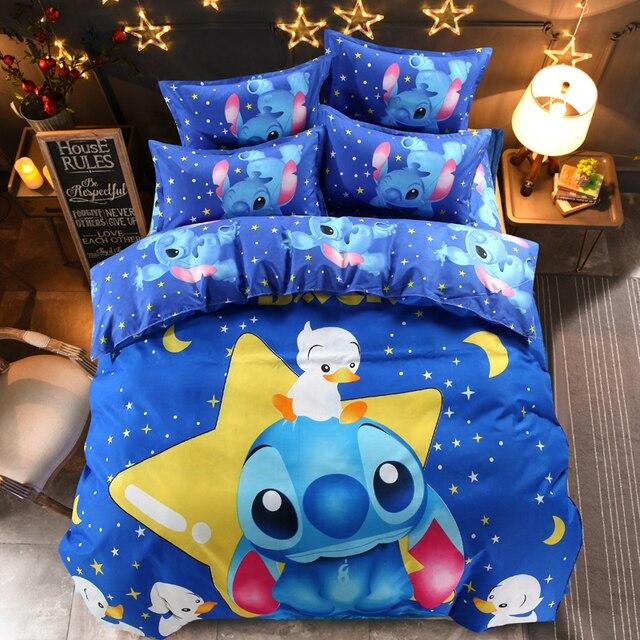 Elegant Disney Lilo And Stitch Bedding Set 3/4 Pieces Blue Comforter Cover 3D  Children Bedroom