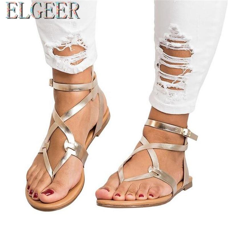 2018 musim panas baru tipis dengan sandal datar perempuan datar - Sepatu Wanita - Foto 3