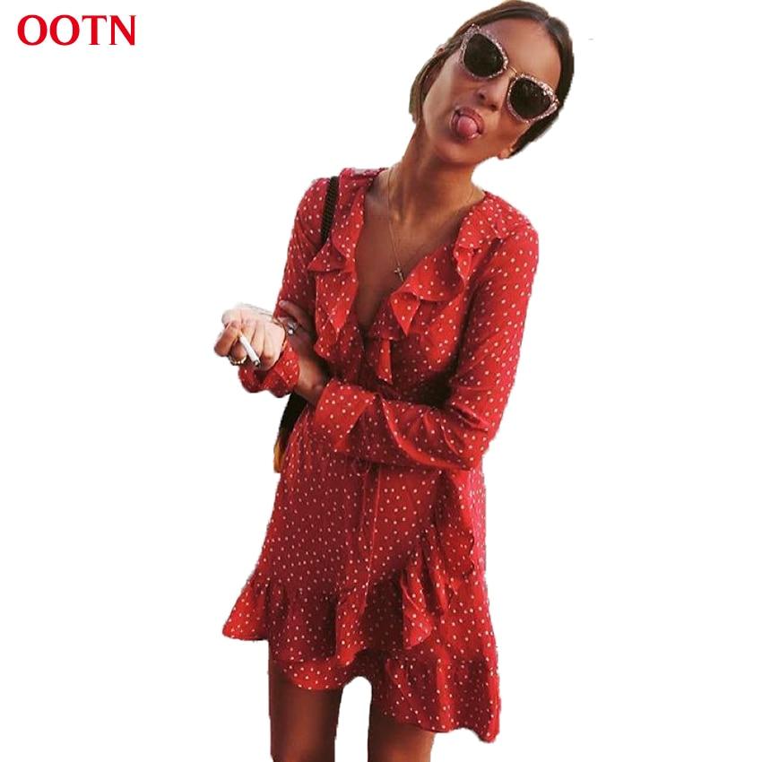 OOTN Rüschen Wrap Sun Kleid Rot Frauen Langarm Mini Kurze Sterne Kleider Vintage Tunika Weibliche 2018 Sommer Sexy Schwarz blau