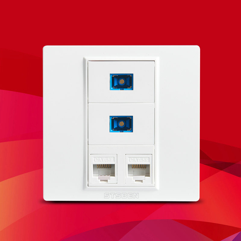 Dual Port CAT6 RJ45 Ethernet Module And Dual Port Fiber SC Optical Interface Socket 86 Type Wall Panel Sockets White Weak Panel