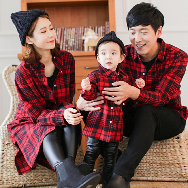 Mother Daughter Baby Clothes Family Matching Outfits Father Son T Shirt Plaid Shirt Female Mum Mama And Daughter Girl Dress Red