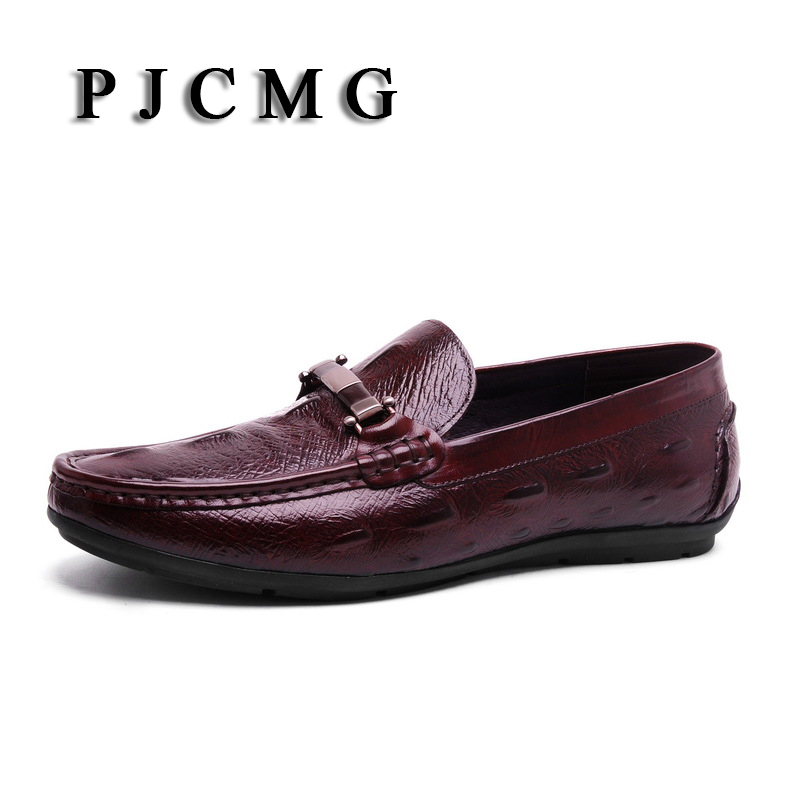 PJCMG New Fashion Plus Brand Black/Red Size 39-44 New Style Genuine Leather Men Flats Moccasins Men Loafers Peas Casual Shoes the black eyed peas the black eyed peas the beginning 2 lp