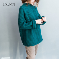 2017 Autumn Winter Korean Large Size Women S Sweater Tops Turtleneck Long Sleeves Loose Solid Pullover
