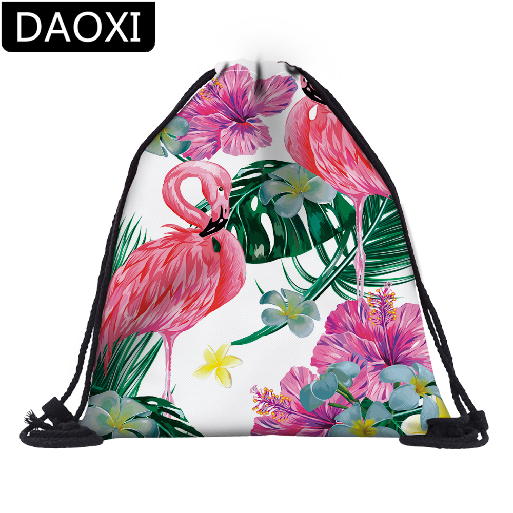 DAOXI 3D Printed Flamingo Flower Colorful Drawstring Bags For Travel Casual Backpacks DX60059