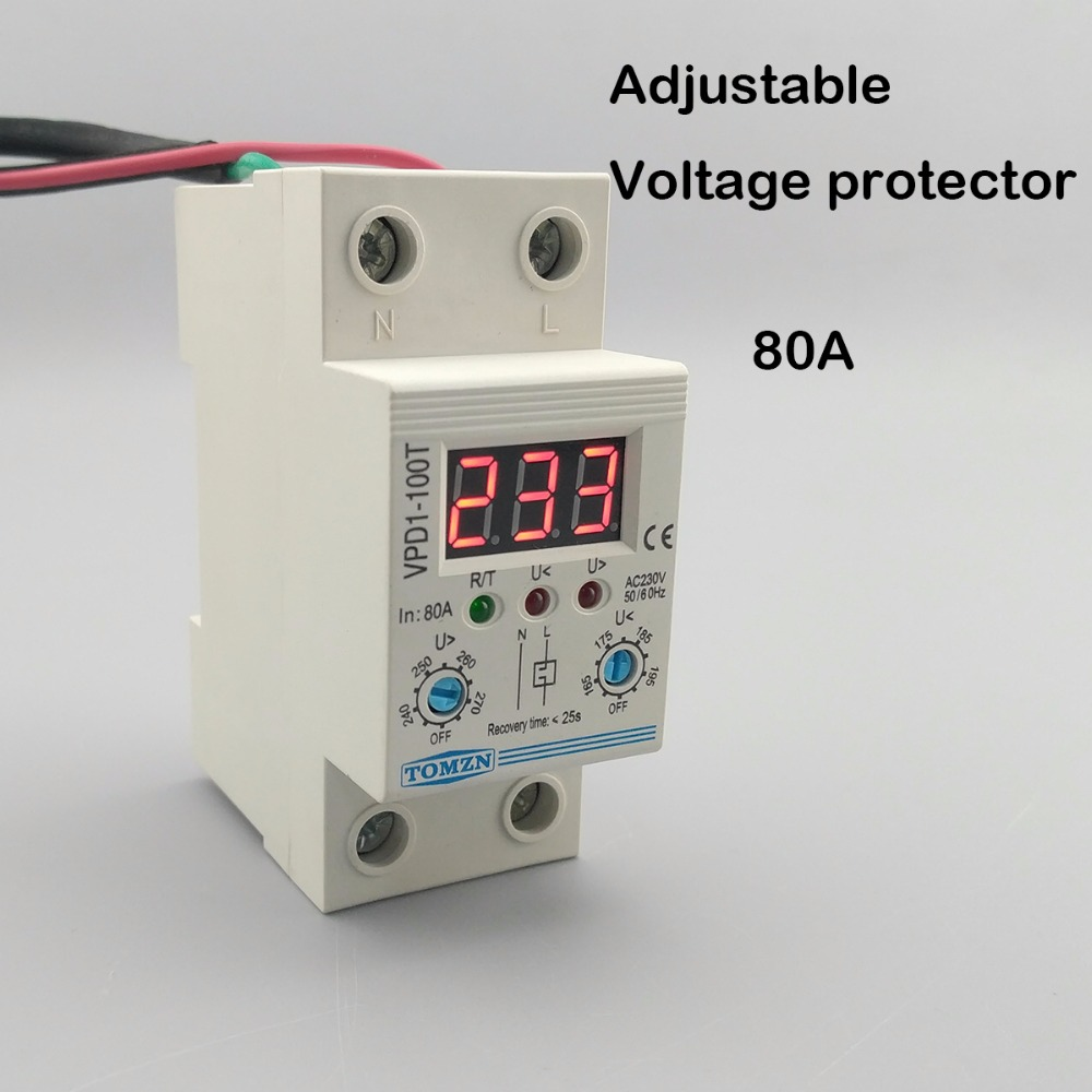 купить 80A 220V adjustable automatic reconnect over voltage and under voltage protection device relay with Voltmeter voltage monitor по цене 1114.02 рублей