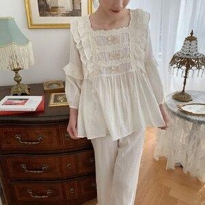 Image 5 - Üstün yumuşak keten pamuk kadın yay pijama setleri kadın gevşek sevimli pijama bahar sonbahar rahat pijama artı boyutu