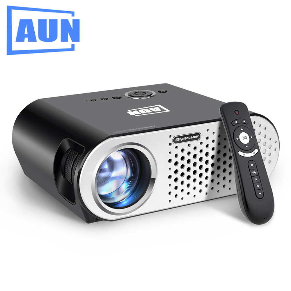AUN Projector 3200 Lumen T90 1280 768 Optional Android Projector with 2 4G Air Mouse Bluetooth