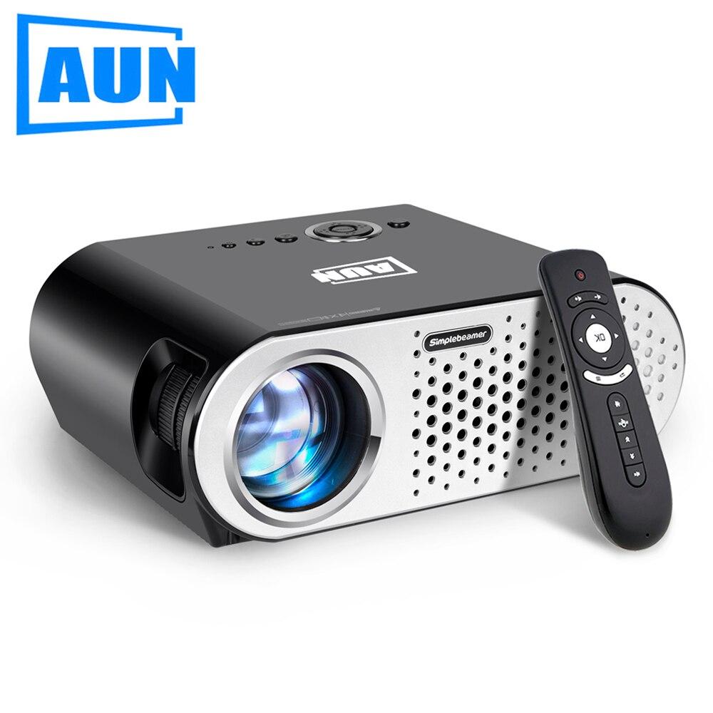 AUN projecteur 3200 Lumen T90, 1280*768 (projecteur Android en option avec souris à Air 2.4G, Bluetooth WIFI, Support AC3) LED TV