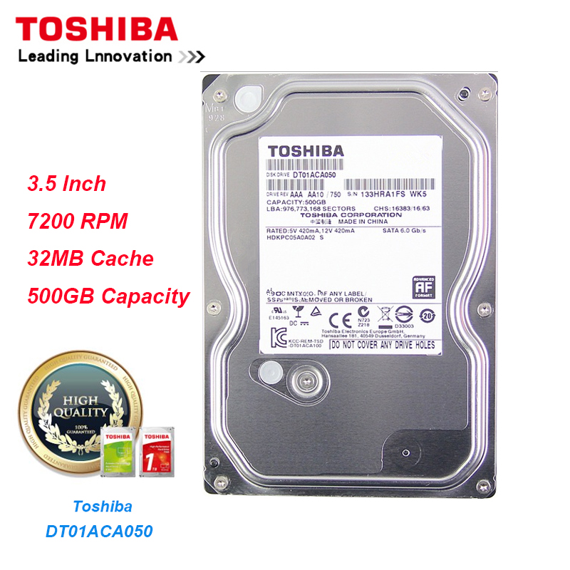 Original Toshiba 500G Hard Drive DT01ACA050 SATA 3 0 7200RPM 32MB Cache 3 5 Internal Hard