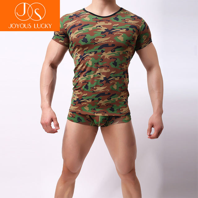 JOYOUS LUCKY Men's Bottoming Shirt 1 Piece Fashion Camouflage Pattern Men Casual Top Shirt Soft Breathable Slim Male Undershirt