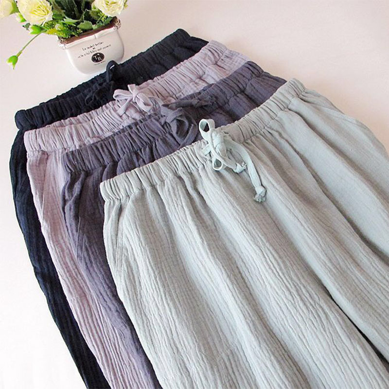 All-Cotton Ladies Sleep Pants Simplicity Style Crepe Cotton Trousers Washed Cotton Pure Sleep Bottoms Household Trousers