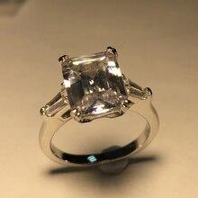 Роскошное Изумрудное кольцо с 3 камнями, блестящее ювелирное изделие Sona, обручальное кольцо, 925 пробы Серебряное женское кольцо