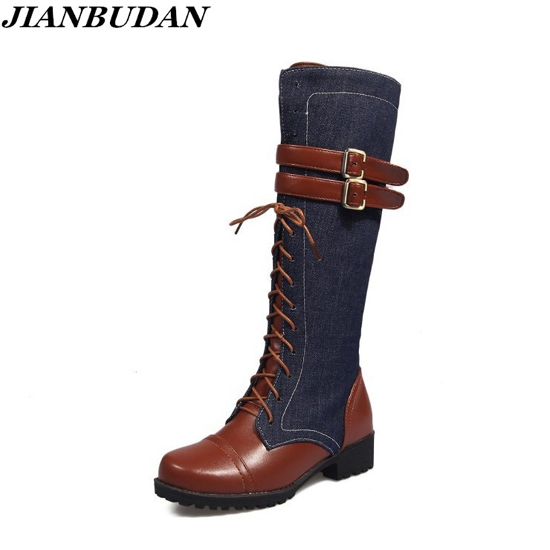 JIANBUDAN Fight mid calf autumn motorcycle boots belt buckle fashion denim women boots zippered sexy knight boots stylish women s mid calf boots with solid color and fringe design