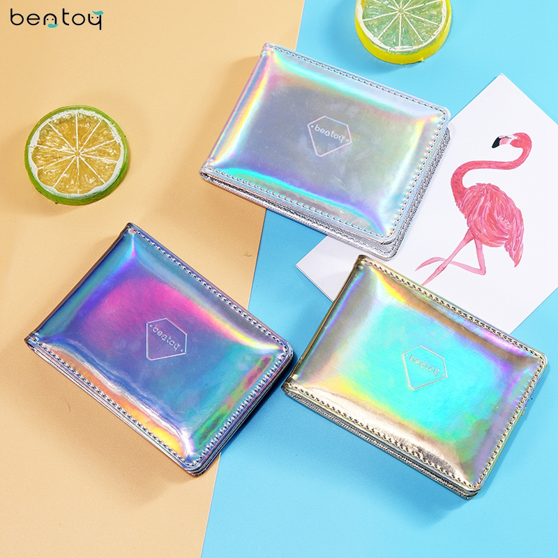 Bentoy Brand Women Hologram Purse Leather Clutch Wallet Kvinne Driving Card Cover Kredittkort Visittkort Holder Organizer