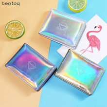 Bentoy Brand Women Hologram Purse Leather Clutch Wallet Female Driving Card Cover Credit Card Business Card Holder Organizer