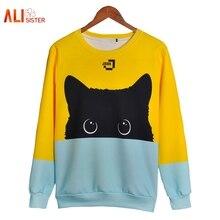 Alisister милый Кот толстовки 3d Толстовка для женщин мужчин Kawaii черный худи с котом животного осень зима пуловеры для забавные челнока