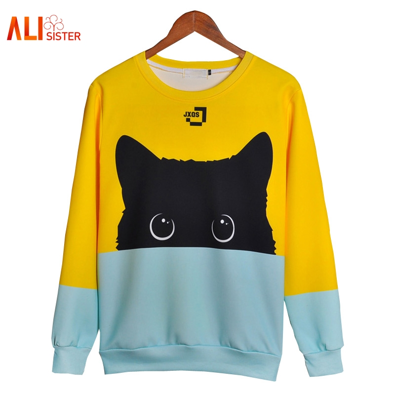 Alisister Cute Cat Hoodies 3d Sweatshirt mujeres hombres Kawaii Black Cat Hoody Animal Otoño Invierno jerseys Funny Dropship