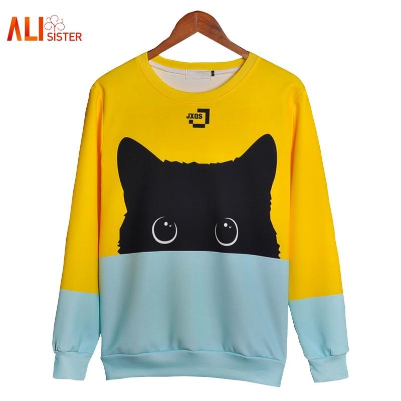 Alisister Cute Cat Hoodies 3d sudadera hombres mujeres Kawaii gato negro Sudadera con capucha Animal Otoño Invierno suéteres Dropship divertido