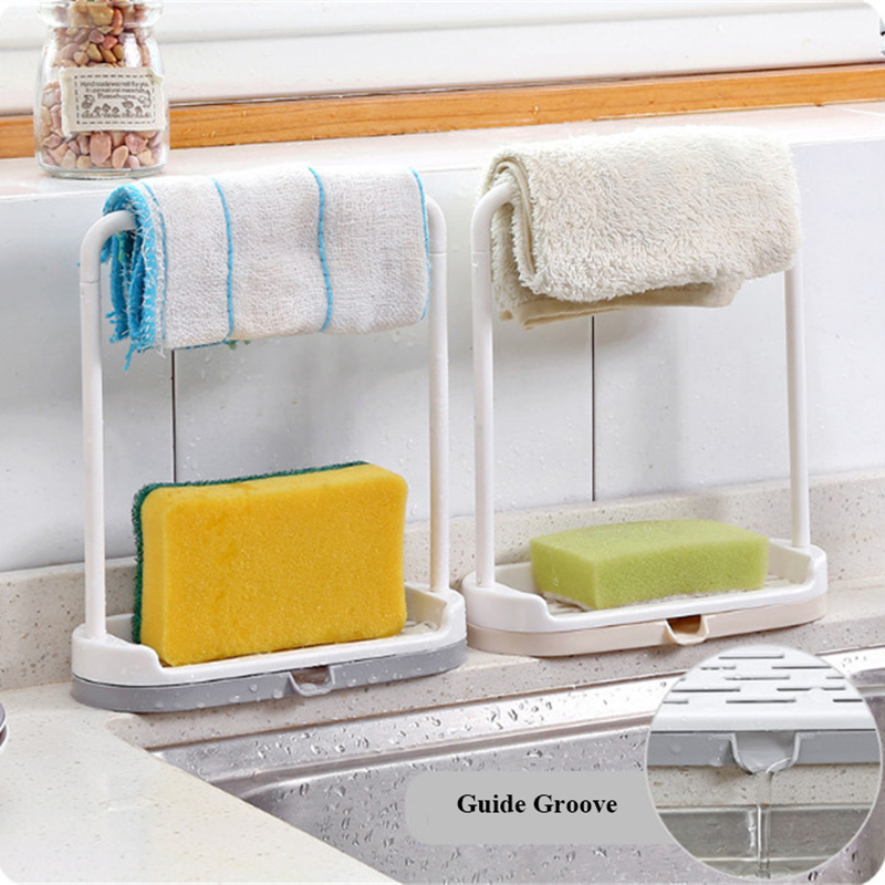 Kitchen Utensil Towel Rack Bar Hanging Holder Rail Organizer Storage Rack Kitchen Gadgets Sponge Shelf Kitchen Organizer Drain