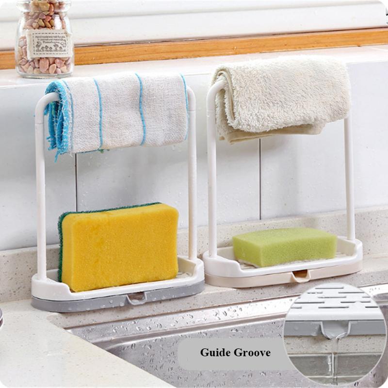 Kitchen Utensil Towel Rack Bar Hanging Holder Rail Organizer Storage Rack Kitchen Gadgets Sponge Shelf Kitchen Organizer Drain