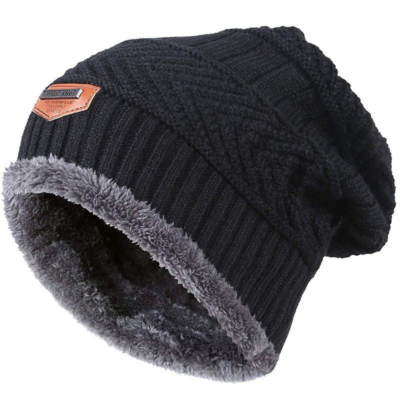 Men Warm Winter Knitted Beanie Hat Fleece Sullies Cap Black  Male Casual Thick Soft  Head Warmer