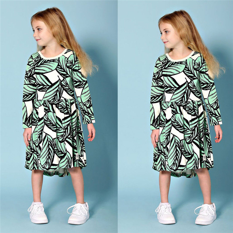 2018 Christmas Dress For Girls Hot Sale Kids Baby Girls Leaves Print Princess Party Dresses Baby Girl Clothes Cute Bebes Vestido