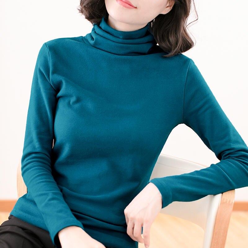 Plus Size 4XL Women Tshirt Autumn Winter Long Sleeve Turtleneck Cotton T Shirt Women Camiseta Mujer Slim Soft Women Tops C5104