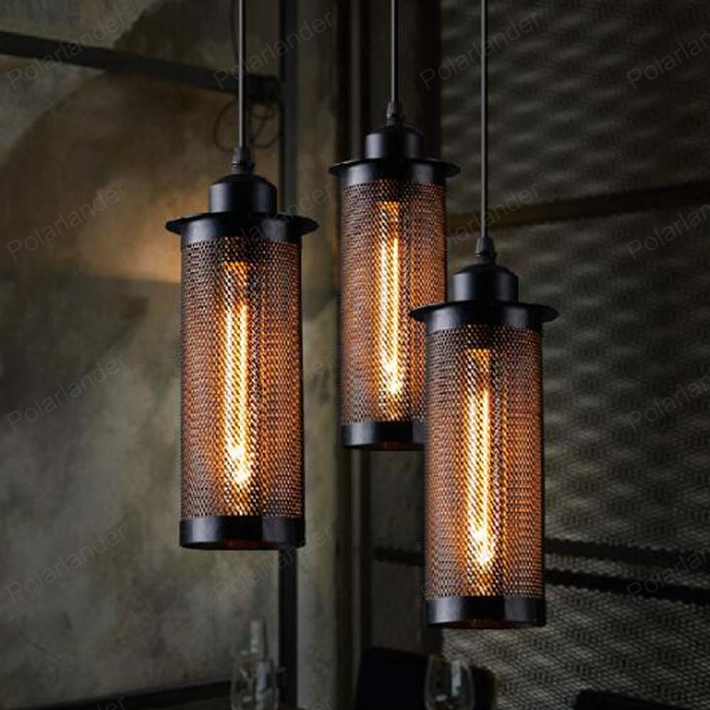 ФОТО High Quality grid Ceiling Lamp Loft Hanging Light Industrial Chandelier for /bedroom/hotel project iron shade