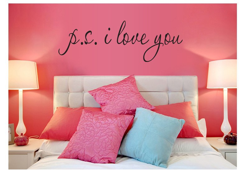 58*15cm PS I Love You Wall Art Decal Home Decor Famous & Inspirational Quotes Living Room Bedroom Removable Wall Stickers 8017 8