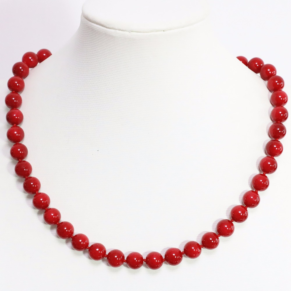 Hot sale women jewelry 10mm faux red coral round beads necklace for engagement romantic high grade jewerly 18inch B1467-1