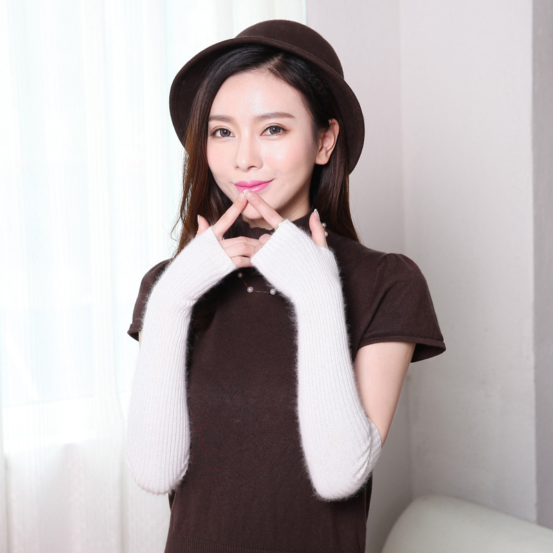 Women Winter Mink Cashmere Long Gloves 40cm 50cm 60cm Thumb Hole Length Half Finger Warm Sleeves Exposed Finger Female Lovely