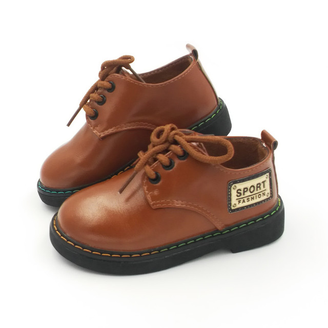 2016 New Fashion Boys Leather Shoes For Child Spring Leather Shoes Girls Flat With Size 21-25 Baby First Walkers Toddler Shoes