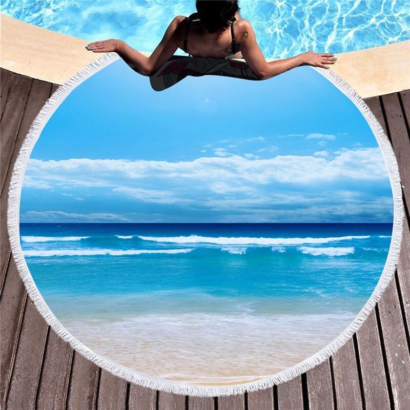 @1  1 шт. 150см диаметр Круглый Пляжный Чехол Мягкий С Кистями Океанский Декорации Печатный Гобелен Пикн ★
