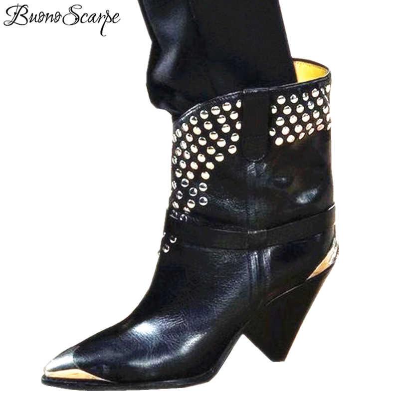 BuonoScarpe gerçek deri yarım çizmeler kadınlar Metal sivri burun perçin püskül garip yüksek topuk çizmeler kadın moda Martin Boots2019