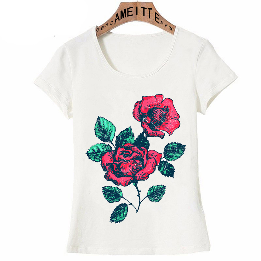 T-shirts Simple Casual Style Womens T-shirt Rose Petals Heart Shape Printed T-shirt Cute Girl White Tops Ameitte Novelty Woman Tees Buy One Give One Tops & Tees