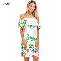 ORMELL Fashion Floral Printing Woman Bodycon White Dresses Ladies Summer Ruffles Slim Elegant Dress Girls Sweet