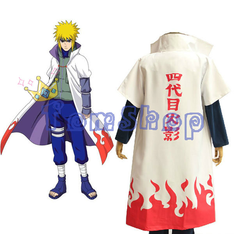 Hot Sale! Anime Naruto Cosplay Costume naruto 4th Hokage Cloak Robe White Cape Dust Coat Free Shipping