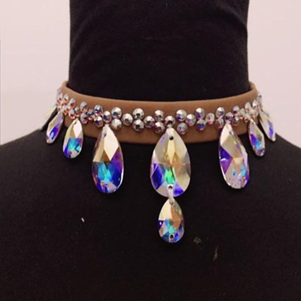 2018 nouveauté accessoires de danse latine collier de danse de diamant autrichien femmes colliers de danse de salle de bal accessoires de danse