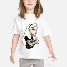 Tattoo Princess girls t shirt Light Yellow Hair Cartoon Thinking Alice Kids Tshirt Baby Girl Costume Summer Toddler kids Tops